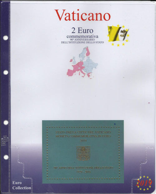 2b2bc39365 2019 - Pagine raccoglitrici per 2 euro serie speciali - 2 euro Vaticano 2019  - 90.mo Stato Vaticano