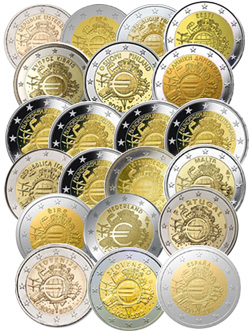 ee85929b41 2012 - Collezione Completa 17 Paesi - 21 Monete 2 EURO 2012 -  10°Anniversario Euro