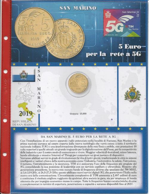 4b96a98c16 2019 - Pagine per emissioni speciali tipo ABAFIL- 5 euro San Marino 2019 -  Telecomunicazioni 5G