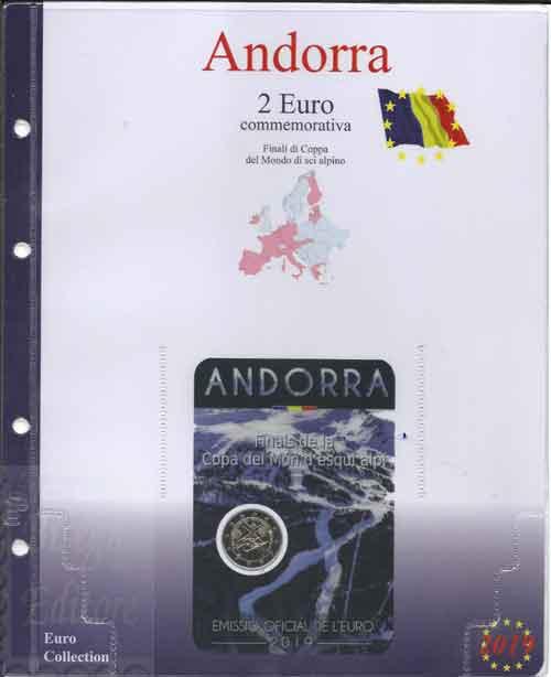69f2f16301 2019 - Pagine raccoglitrici per emissioni speciali - 2 euro Andorra 2019 -  Coppa del Mondo Sci