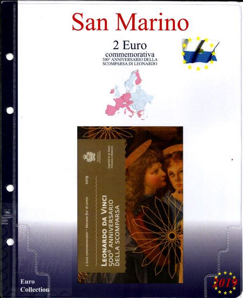 de647c2d08 2019 - Pagine raccoglitrici per 2 euro serie speciali - 2 euro San Marino  2019 - 500.mo Leonardo da Vinci